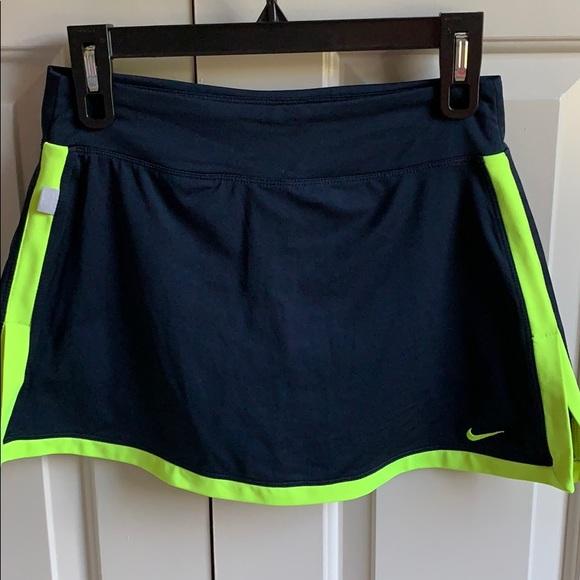 Nike Dresses & Skirts - Nike Tennis Skirt Neon Yellow and Navy